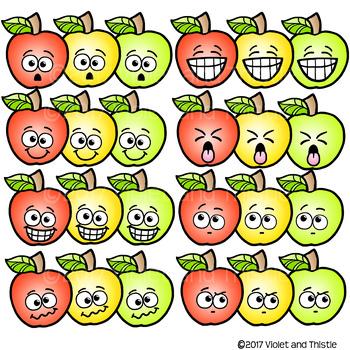 48 IMAGES! Apple Faces Apples Emotions Emoticons Expression Clipart Clip Art