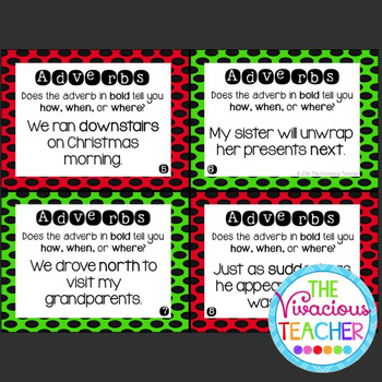 Christmas Adverbs Task Cards Scoot Activity