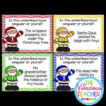 Christmas Singular and Plural Nouns Task Cards