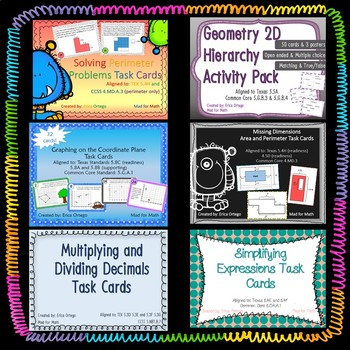 NEW! 5th Grade Math Readiness Standards Task Cards BUNDLE! 14 sets 350 questions