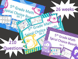 NEW! 5th Grade Math Spiral Choice Boards Bundle 3 Sets Over 200 Questions