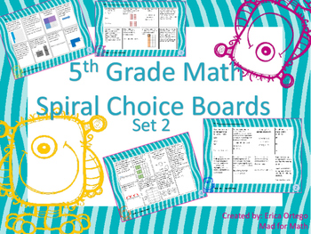 NEW 5th Grade Math Spiral Choice Boards Set 2: Over 60 Questions!