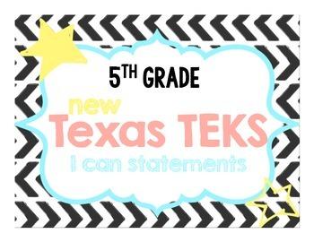 NEW 5th Grade Math TEKS I Can Statements