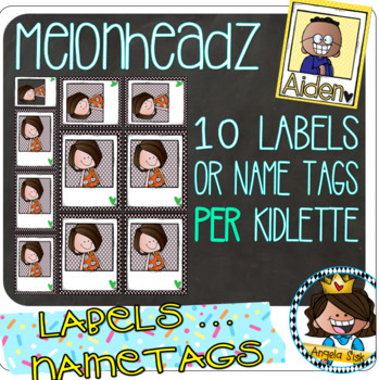 New 64 Picture Frame Melonheadz Kidlette Name Tag Labels By