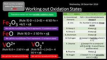 NEW AQA Yr1 Oxidation, Reduction and Redox Reactions Revision