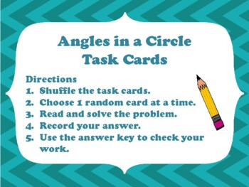 NEW  Angles in a Circle Task Cards (4.7A, 4.7B & 4.MD.C.5.A, 4.MD.C.5.B)