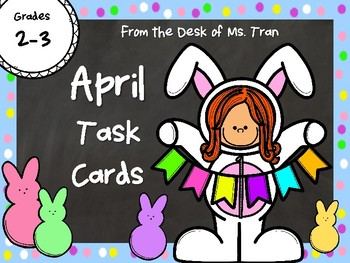 NEW  April Task Cards HOP INTO MATH, READING & WRITING!