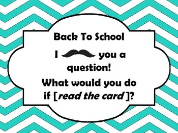 FREEBIE  Back to School What Would You Do Cards