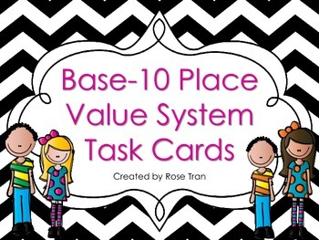 NEW Base-10 Place Value System Task Cards (TEKS and Common Core aligned)