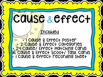 NEW! CAUSE AND EFFECT MATCHING CARDS/ SCOOT/ TASK CARDS