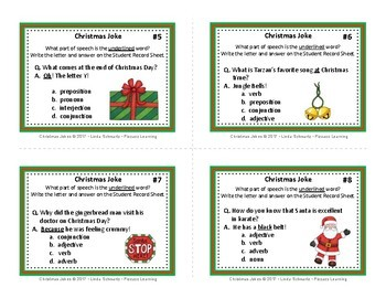 CHRISTMAS JOKES: PARTS OF SPEECH • POSTERS