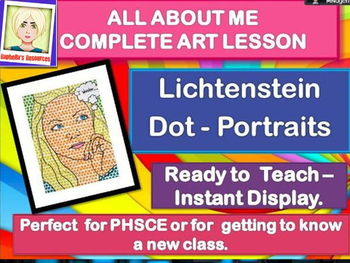 NEW CLASS/ ALL ABOUT ME -  Lichtenstein Portraits-  COMPLETE ART LESSON