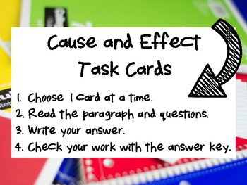 NEW  Cause and Effect Task Cards Grades 3-5 GREAT FOR GUIDED READING OR CENTERS!