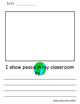 Character Ed Writing: Peace (32 Sheets + Bonus Coloring Page)