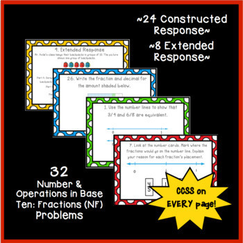 Common Core Constructed Response Problems - 4th Fractions (NF)