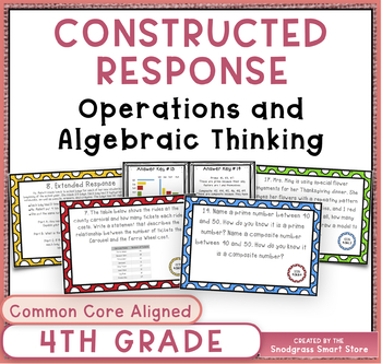 Math Constructed Response Word Problems: 4th Operations/Algebraic Thinking (OA)