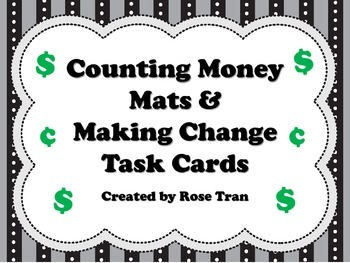 NEW  Counting Money Mats & Making Change Task Cards (align