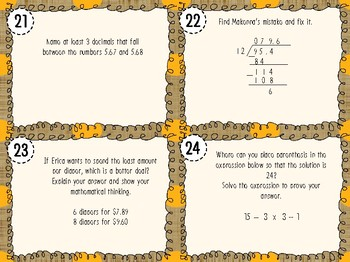 NEW! Critical Thinking Word Problem Task Cards Fifth Grade