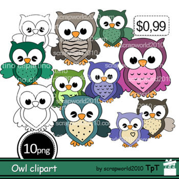 NEW Cute Owl clipart multicolor+Outline black white,personal and commercial use