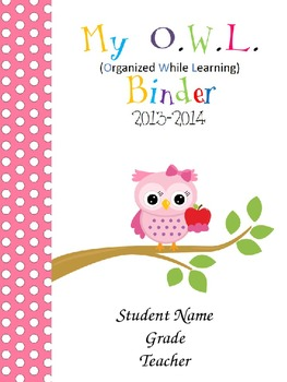NEW Cute Owls- Editable Binder Cover