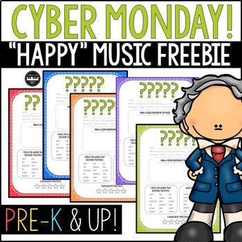 NEW! Cyber Monday Happy Music!  Mystery, Surprise, Classical Listening Sheets