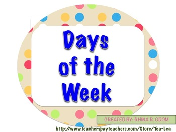 NEW Days of the Week Labels and Borders