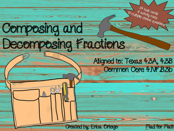 NEW Decomposing Fractions Task Cards, Mats, Review Questio