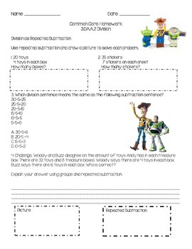 NEW! Movie & Cartoon Themed Division Homework/Worksheets {COMMON CORE ALIGNED}