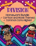 NEW! Movie & Cartoon Themed Division Homework/Worksheets {