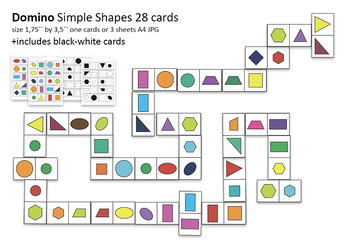 Activities Domino Simple Shape, 28 cards+28 Black White cards paper game
