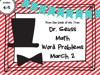 NEW  Dr. Seuss Math Word Problems MARCH 2 Perfect for 4th-5th grade!