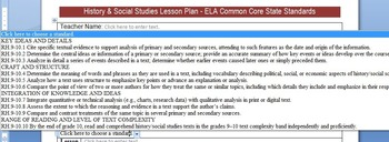 Common Core Lesson Plan Templates w/Standards in Drop Down Menus ELA 9-12