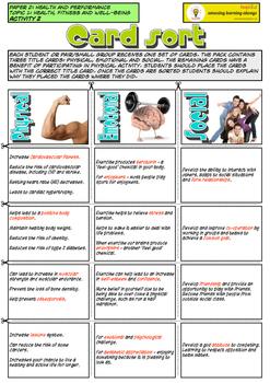 NEW Edexcel GCSE PE CARD SORT activity. Unit 2 - Topic 1