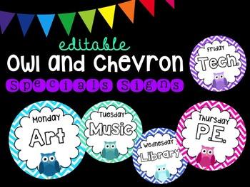 Editable Owl Chevron Specials Signs (Pastel)