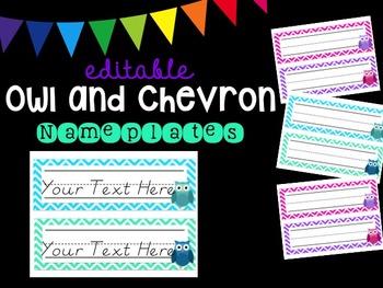 Editable Owl and Chevron Nameplates (Pastel)
