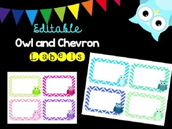Editable Owl and Chevron PASTEL Labels (Large)