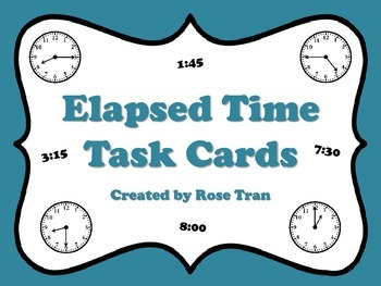 NEW  Elapsed Time Task Cards (aligned to TEKS 4.8C, CC 4.MD.A.2)