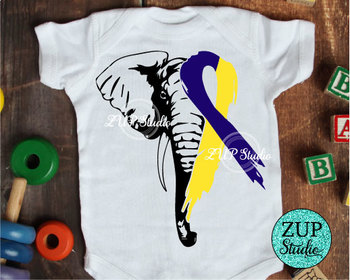 NEW!! Elephant Face Down Syndrome Awareness SVG Ribbon 484