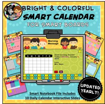 Everyday Interactive Calendar & Organizer for SMART Board PK K 1st BRIGHT THEME