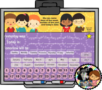 Everyday Interactive Calendar & Organizer for SMART Board PK K 1st BRIGHT THEME