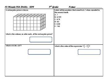 NEW FOR 2019! 10-Minute Daily Drills - FSA / Common Core Test Prep / 5th Grade