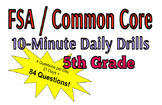 NEW FOR 2019! 10-Minute Daily Drills - FSA / Common Core Test Prep / 5th Grade