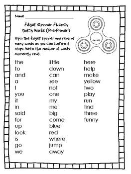 NEW  Fidget Spinner Dolch Words Fluency
