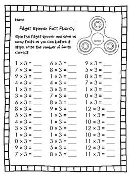 NEW  Fidget Spinner Fact Fluency FUN WAY TO INCREASE MULTIPLICATION FACT FLUENCY
