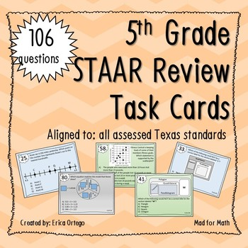 NEW! Fifth Grade Review ALL MATH STANDARDS 106 Task Cards!