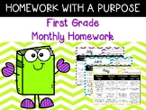 NEW  First Grade Monthly Homework Calendars HW with a purpose!