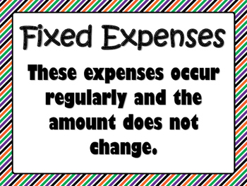 NEW  Fixed and Variable Expenses Sort PERSONAL FINANCIAL LITERACY (TEKS 4.10A)