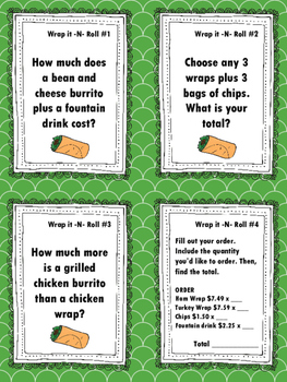 NEW Food Truck Math: Wrap it -N- Roll Food Truck Math Task Cards