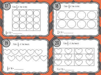 NEW Fractions of a Set Task Cards for Third Grade