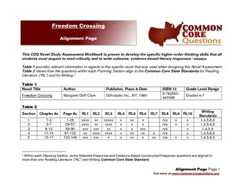 Freedom Crossing CCQ Novel Study Assessment Workbook-Common Core-Aligned